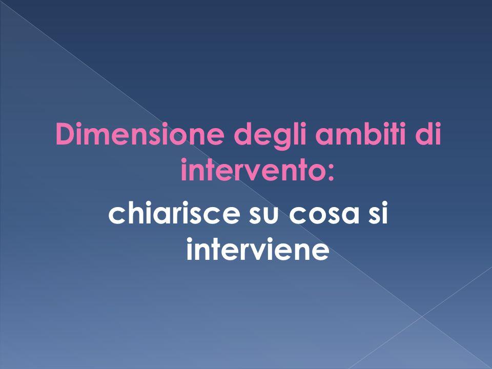 Dimensione degli ambiti di intervento: chiarisce su cosa si interviene