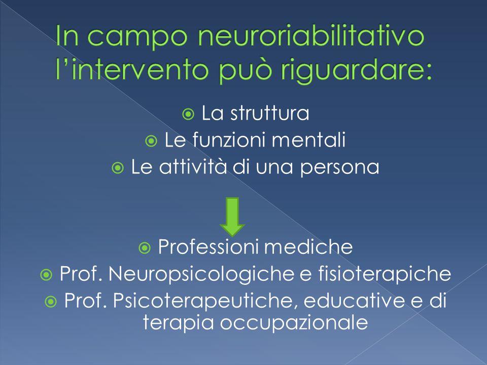  La struttura  Le funzioni mentali  Le attività di una persona  Professioni mediche  Prof. Neuropsicologiche e fisioterapiche  Prof. Psicoterape