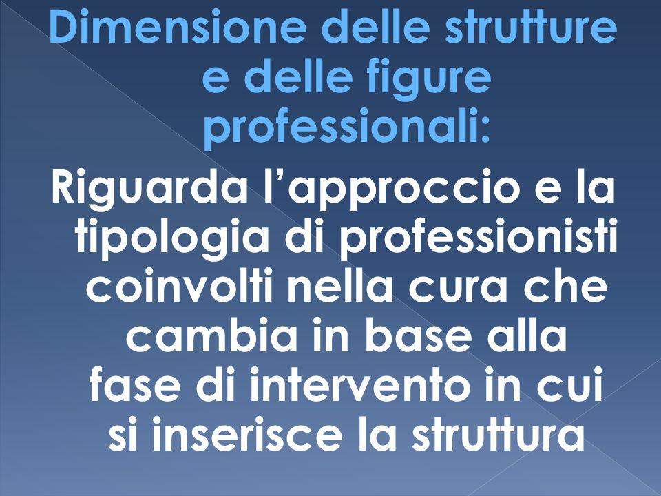 Dimensione delle strutture e delle figure professionali: Riguarda l'approccio e la tipologia di professionisti coinvolti nella cura che cambia in base