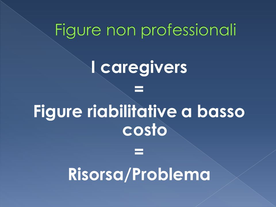 I caregivers = Figure riabilitative a basso costo = Risorsa/Problema
