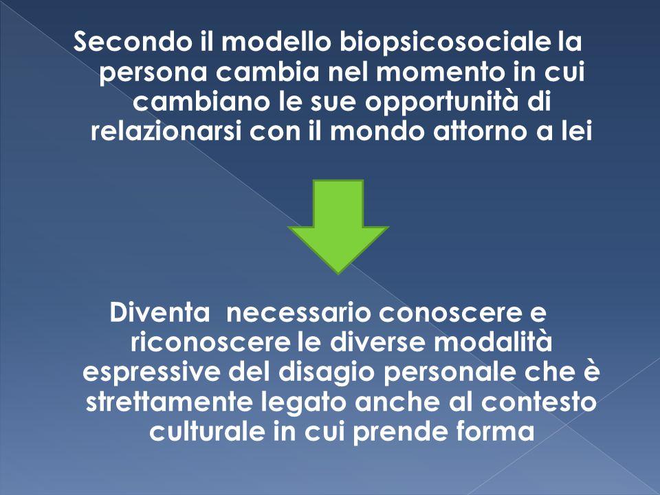 Secondo il modello biopsicosociale la persona cambia nel momento in cui cambiano le sue opportunità di relazionarsi con il mondo attorno a lei Diventa