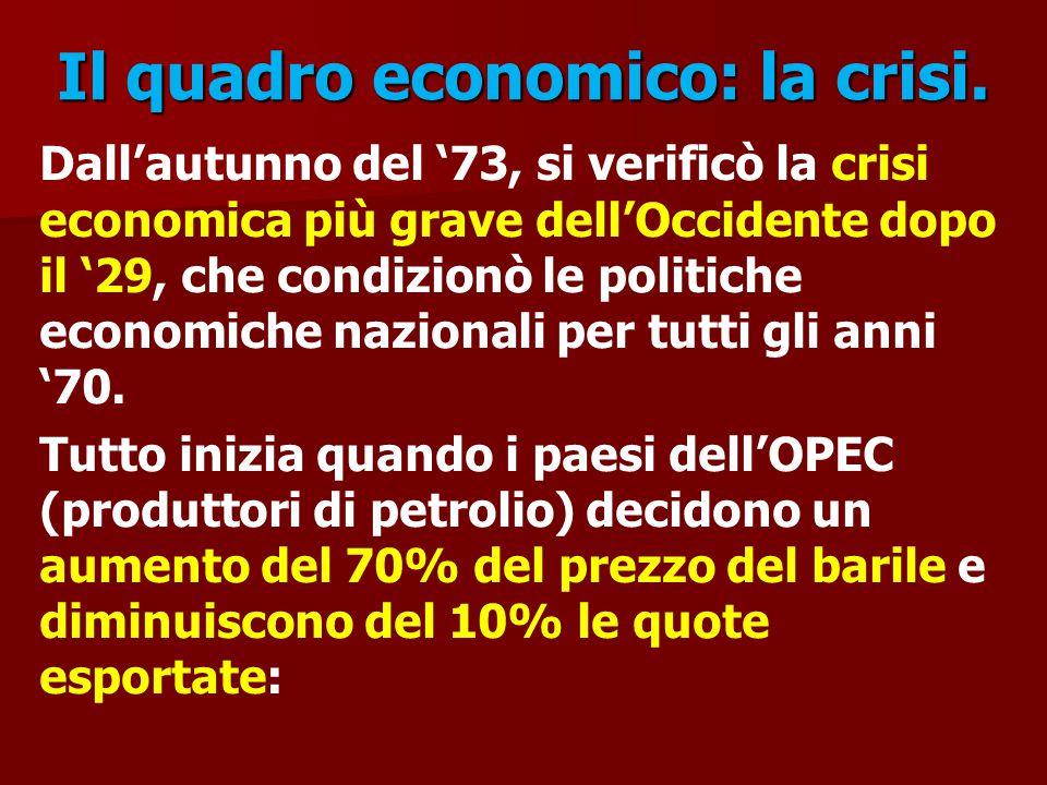 Il quadro economico: la crisi. Dall'autunno del '73, si verificò la crisi economica più grave dell'Occidente dopo il '29, che condizionò le politiche