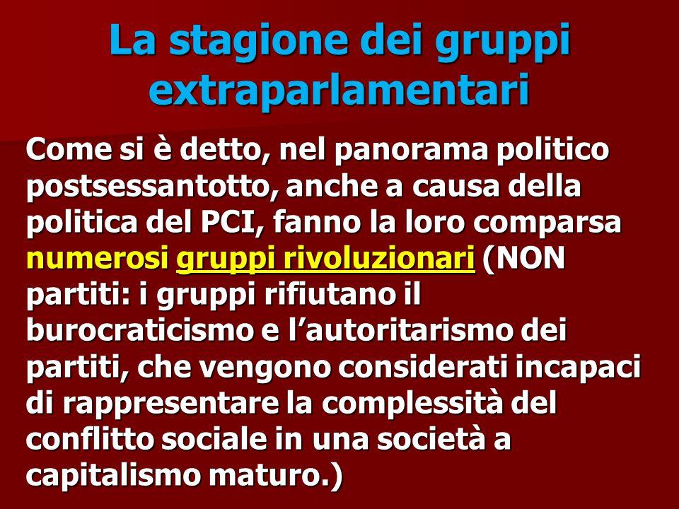 La stagione dei gruppi extraparlamentari Come si è detto, nel panorama politico postsessantotto, anche a causa della politica del PCI, fanno la loro c