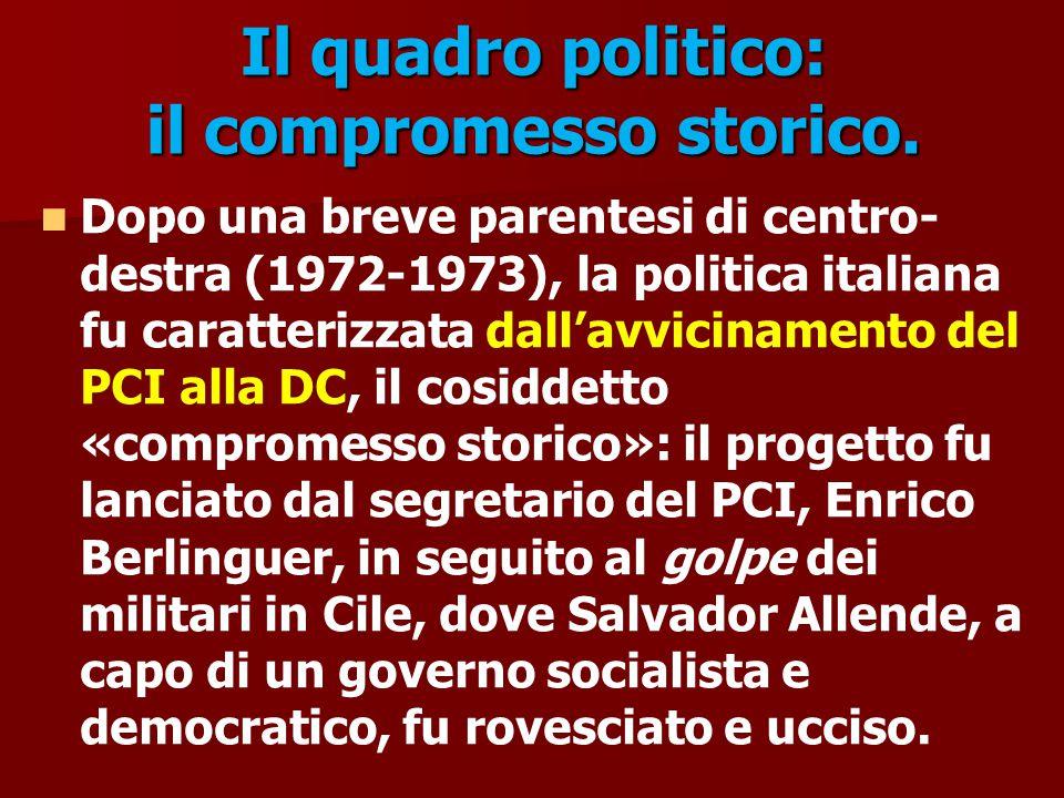 Il quadro politico: il compromesso storico. Dopo una breve parentesi di centro- destra (1972-1973), la politica italiana fu caratterizzata dall'avvici