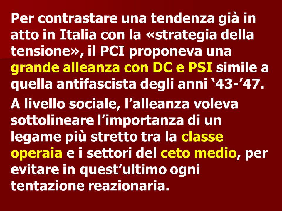 Per contrastare una tendenza già in atto in Italia con la «strategia della tensione», il PCI proponeva una grande alleanza con DC e PSI simile a quell