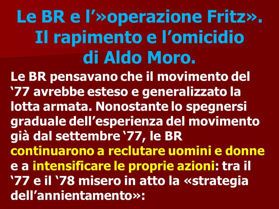 Le BR e l'»operazione Fritz». Il rapimento e l'omicidio di Aldo Moro. Le BR pensavano che il movimento del '77 avrebbe esteso e generalizzato la lotta