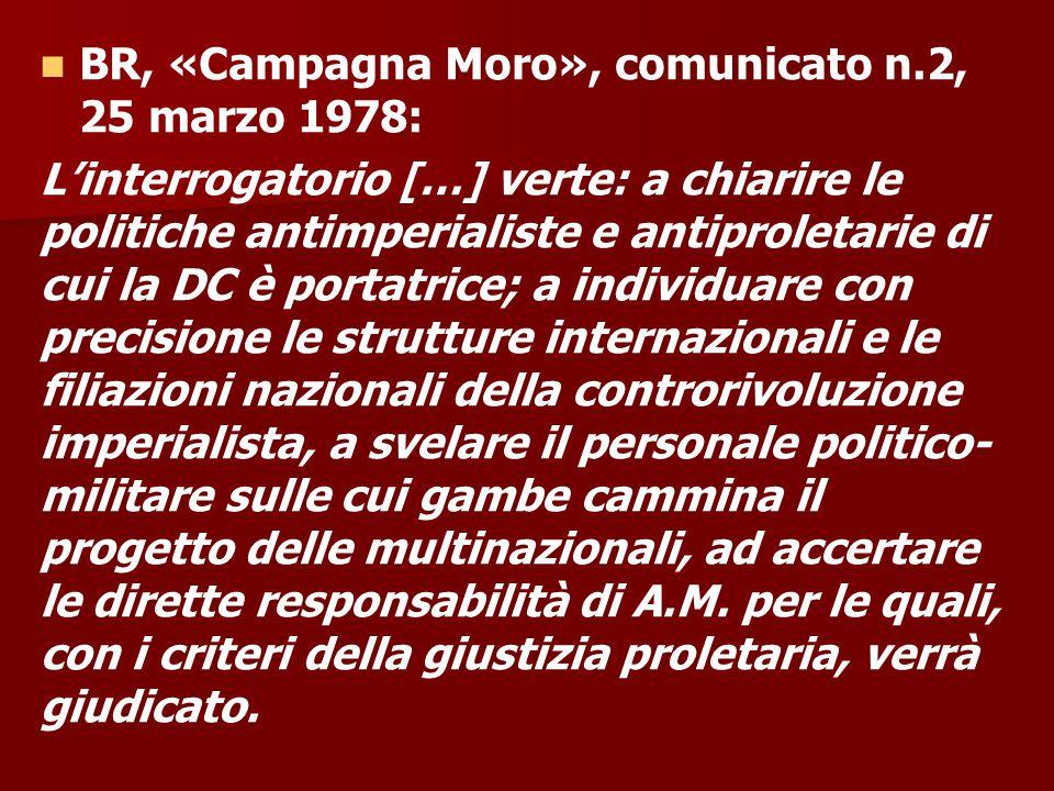 BR, «Campagna Moro», comunicato n.2, 25 marzo 1978: L'interrogatorio […] verte: a chiarire le politiche antimperialiste e antiproletarie di cui la DC