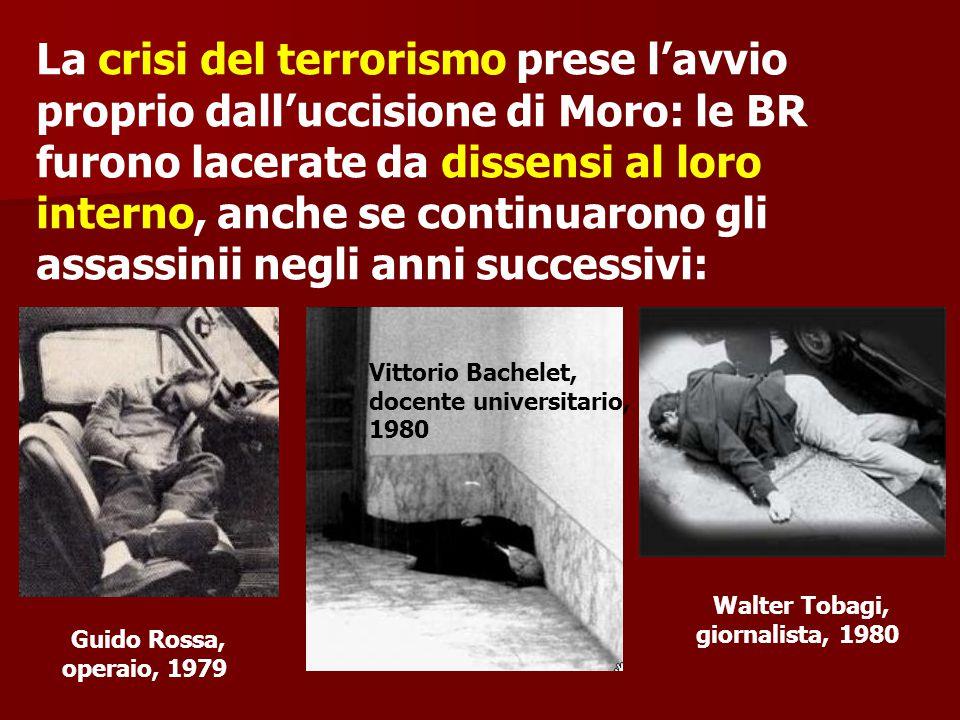 La crisi del terrorismo prese l'avvio proprio dall'uccisione di Moro: le BR furono lacerate da dissensi al loro interno, anche se continuarono gli ass