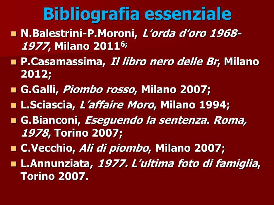 Bibliografia essenziale N.Balestrini-P.Moroni, L'orda d'oro 1968- 1977, Milano 2011 6; N.Balestrini-P.Moroni, L'orda d'oro 1968- 1977, Milano 2011 6;