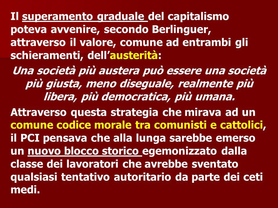 Il superamento graduale del capitalismo poteva avvenire, secondo Berlinguer, attraverso il valore, comune ad entrambi gli schieramenti, dell'austerità