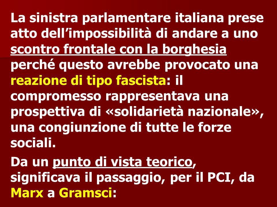 La sinistra parlamentare italiana prese atto dell'impossibilità di andare a uno scontro frontale con la borghesia perché questo avrebbe provocato una