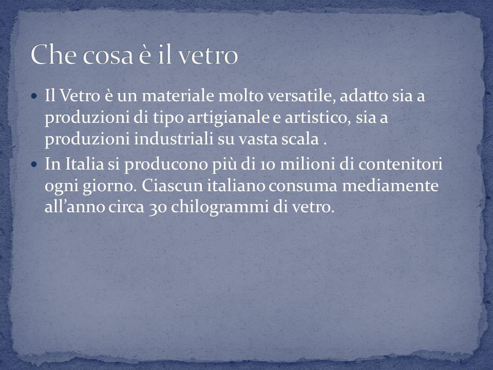 Il Vetro è un materiale molto versatile, adatto sia a produzioni di tipo artigianale e artistico, sia a produzioni industriali su vasta scala.