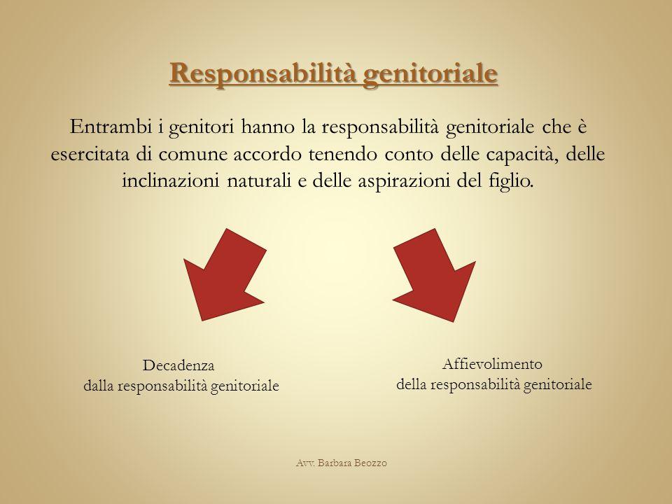 Avv. Barbara Beozzo Responsabilità genitoriale Entrambi i genitori hanno la responsabilità genitoriale che è esercitata di comune accordo tenendo cont