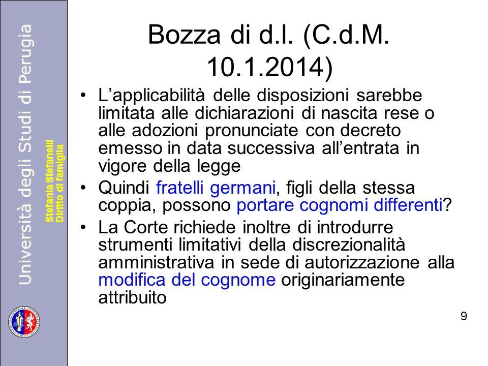 Università degli Studi di Perugia Diritto di famiglia Stefania Stefanelli Università degli Studi di Perugia Diritto di famiglia Stefania Stefanelli Bozza di d.l.
