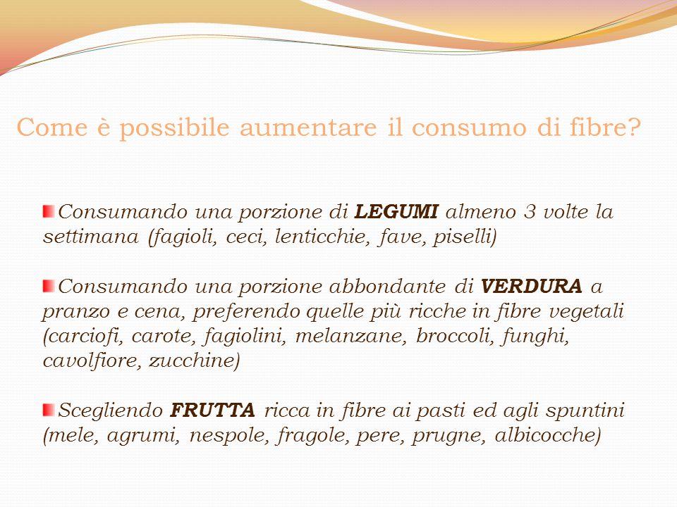 Come è possibile aumentare il consumo di fibre? Consumando una porzione di LEGUMI almeno 3 volte la settimana (fagioli, ceci, lenticchie, fave, pisell