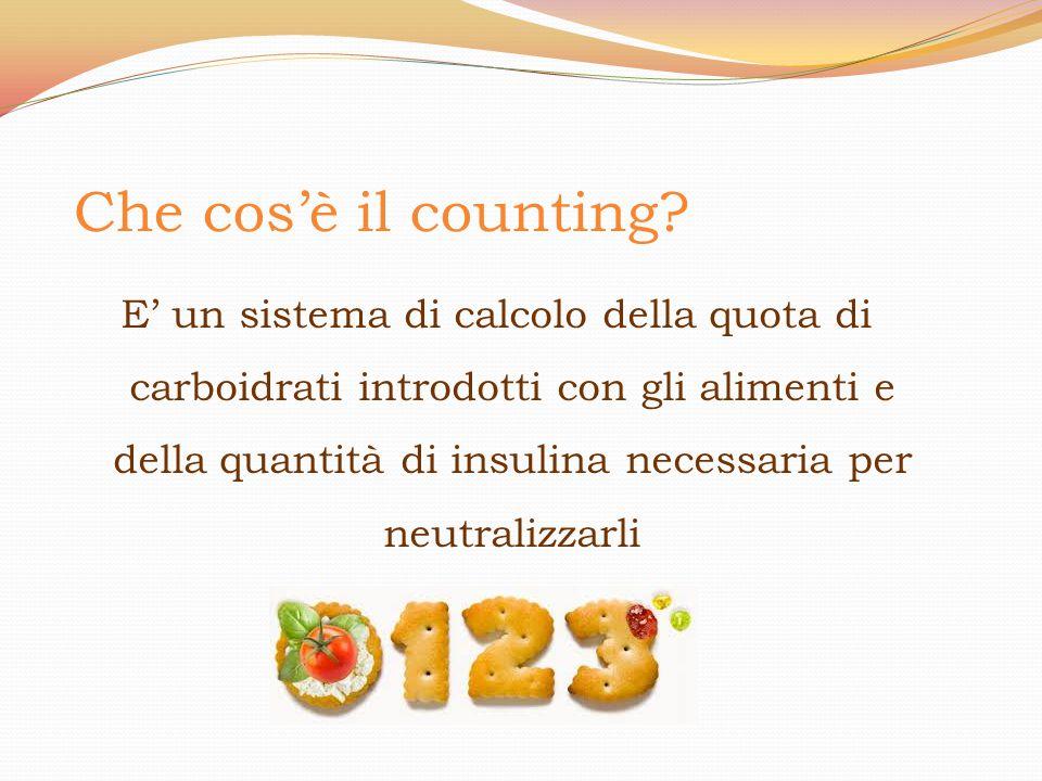 E' un sistema di calcolo della quota di carboidrati introdotti con gli alimenti e della quantità di insulina necessaria per neutralizzarli Che cos'è i