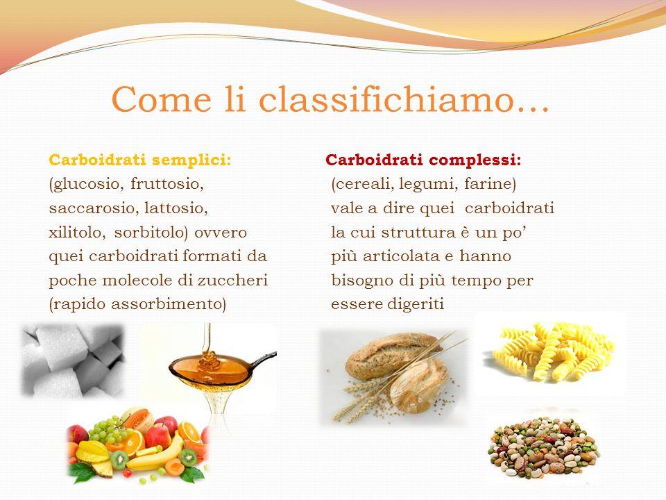 Come li classifichiamo… Carboidrati semplici: (glucosio, fruttosio, saccarosio, lattosio, xilitolo, sorbitolo) ovvero quei carboidrati formati da poch