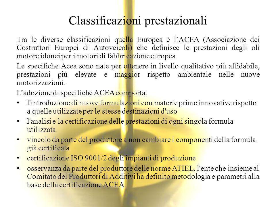 Classificazioni prestazionali Tra le diverse classificazioni quella Europea è l'ACEA (Associazione dei Costruttori Europei di Autoveicoli) che definis