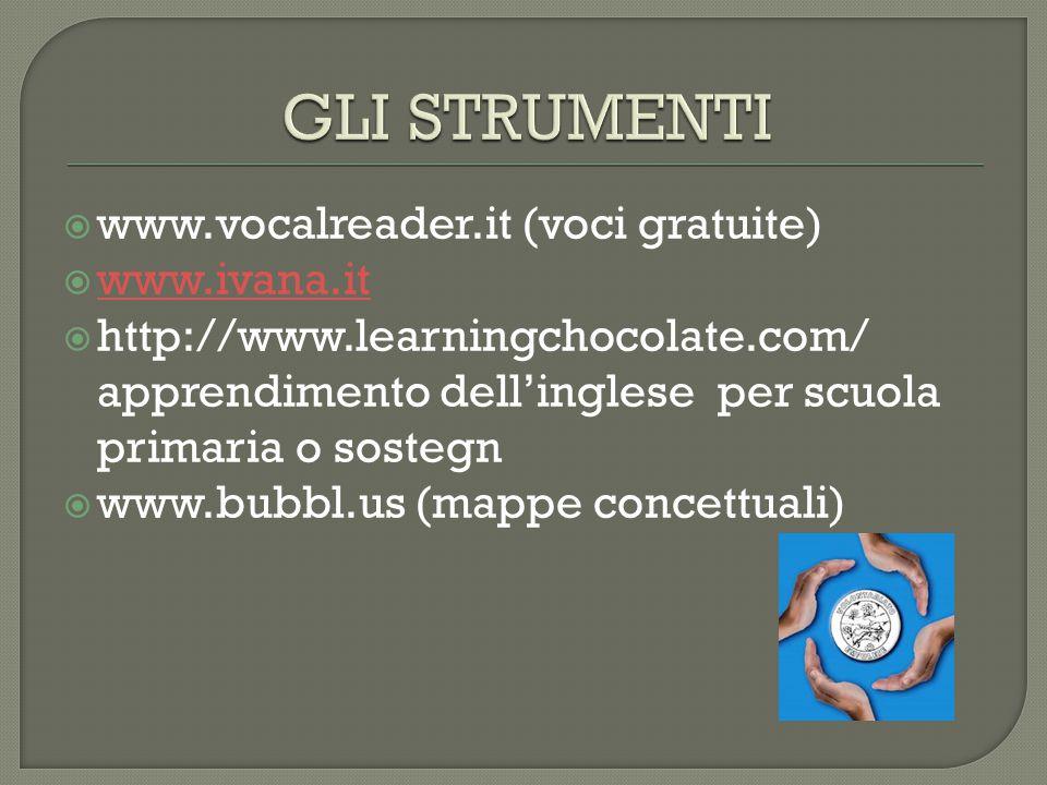  www.vocalreader.it (voci gratuite)  www.ivana.it www.ivana.it  http://www.learningchocolate.com/ apprendimento dell'inglese per scuola primaria o sostegn  www.bubbl.us (mappe concettuali)