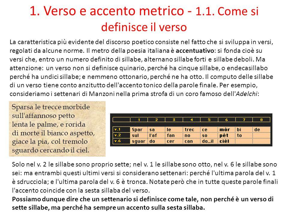 1. Verso e accento metrico - 1.1. Come si definisce il verso La caratteristica più evidente del discorso poetico consiste nel fatto che si sviluppa in
