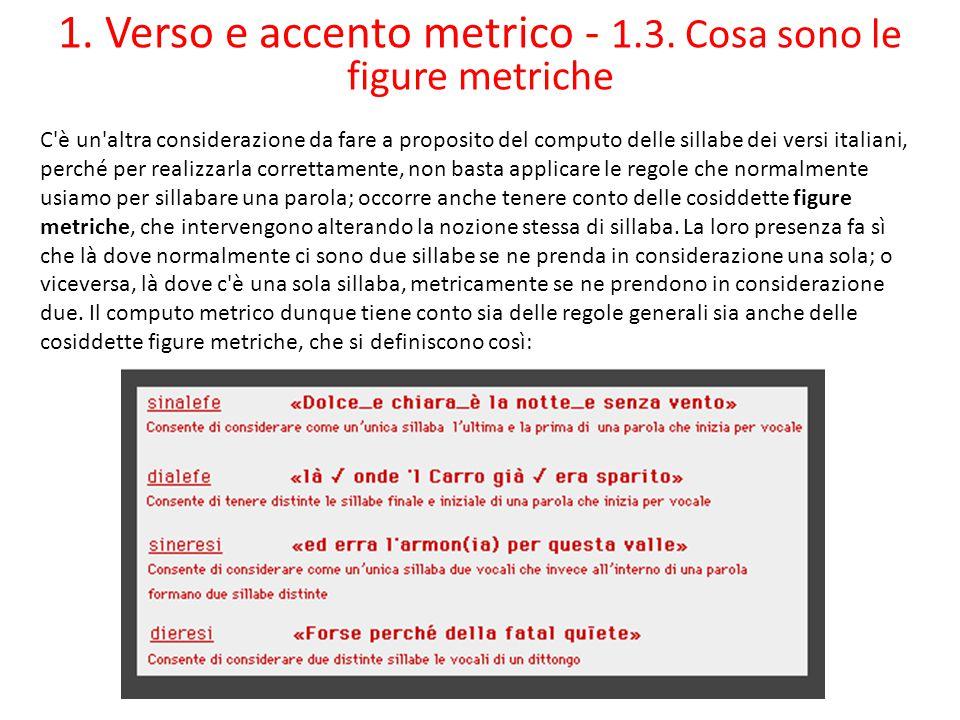 1. Verso e accento metrico - 1.3. Cosa sono le figure metriche C'è un'altra considerazione da fare a proposito del computo delle sillabe dei versi ita