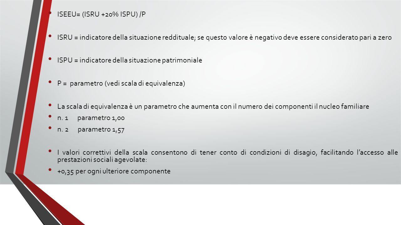 ISEEU= (ISRU +20% ISPU) /P ISRU = indicatore della situazione reddituale; se questo valore è negativo deve essere considerato pari a zero ISPU = indic