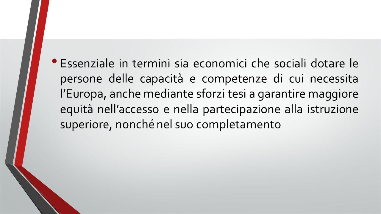 Essenziale in termini sia economici che sociali dotare le persone delle capacità e competenze di cui necessita l'Europa, anche mediante sforzi tesi a