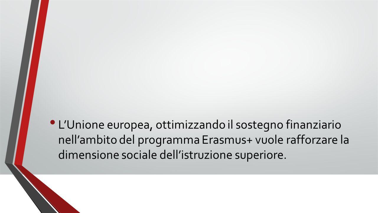L'Unione europea, ottimizzando il sostegno finanziario nell'ambito del programma Erasmus+ vuole rafforzare la dimensione sociale dell'istruzione super