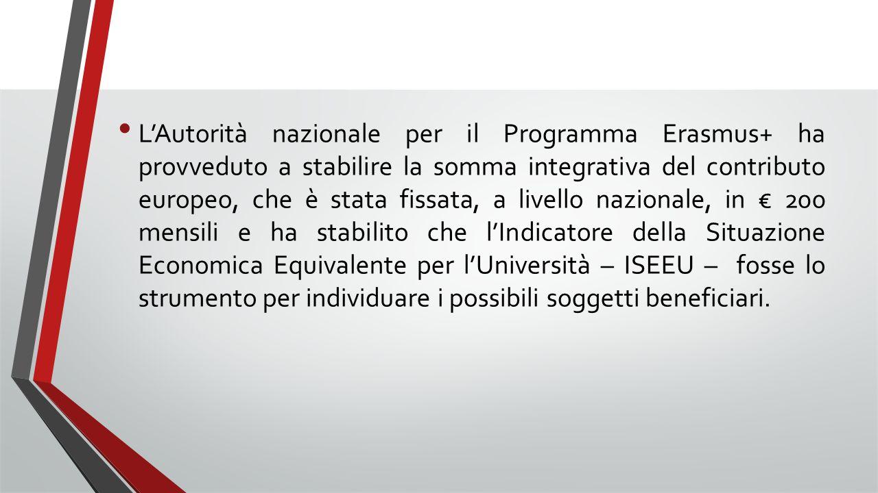 L'Autorità nazionale per il Programma Erasmus+ ha provveduto a stabilire la somma integrativa del contributo europeo, che è stata fissata, a livello n