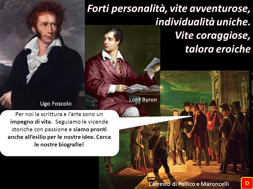 Ugo Foscolo Lord Byron L'arresto di Pellico e Maroncelli D Per noi la scrittura e l'arte sono un impegno di vita. Seguiamo le vicende storiche con pas