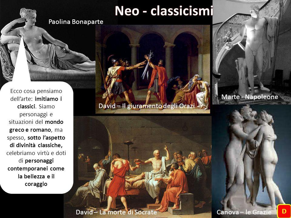 Ecco cosa pensiamo dell'arte: imitiamo i classici. Siamo personaggi e situazioni del mondo greco e romano, ma spesso, sotto l'aspetto di divinità clas
