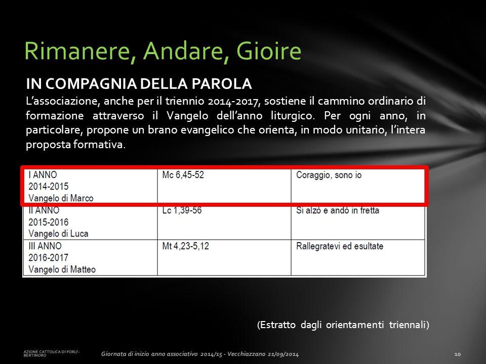 (Estratto dagli orientamenti triennali) AZIONE CATTOLICA DI FORLI'- BERTINORO 10Giornata di inizio anno associativo 2014/15 - Vecchiazzano 21/09/2014