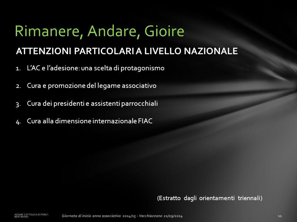 (Estratto dagli orientamenti triennali) AZIONE CATTOLICA DI FORLI'- BERTINORO 11Giornata di inizio anno associativo 2014/15 - Vecchiazzano 21/09/2014