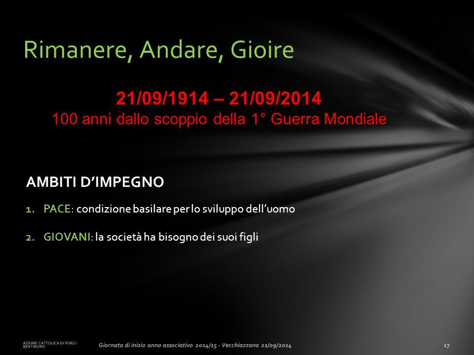 AZIONE CATTOLICA DI FORLI'- BERTINORO 17Giornata di inizio anno associativo 2014/15 - Vecchiazzano 21/09/2014 Rimanere, Andare, Gioire AMBITI D'IMPEGN