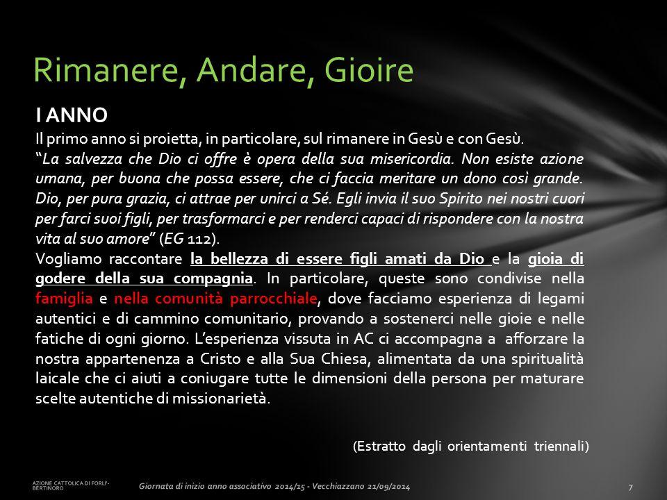 (Estratto dagli orientamenti triennali) AZIONE CATTOLICA DI FORLI'- BERTINORO 7Giornata di inizio anno associativo 2014/15 - Vecchiazzano 21/09/2014 R