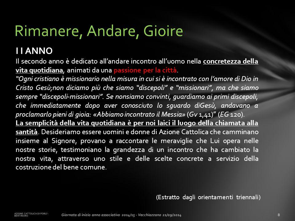 (Estratto dagli orientamenti triennali) AZIONE CATTOLICA DI FORLI'- BERTINORO 8Giornata di inizio anno associativo 2014/15 - Vecchiazzano 21/09/2014 R