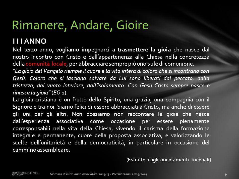 (Estratto dagli orientamenti triennali) AZIONE CATTOLICA DI FORLI'- BERTINORO 9Giornata di inizio anno associativo 2014/15 - Vecchiazzano 21/09/2014 R