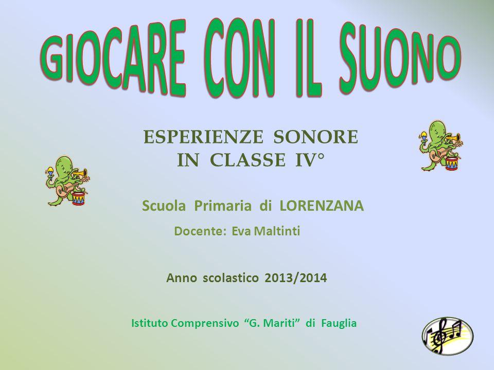 ESPERIENZE SONORE IN CLASSE IV° Scuola Primaria di LORENZANA Docente: Eva Maltinti Anno scolastico 2013/2014 Istituto Comprensivo G.