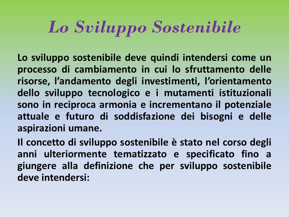 Lo Sviluppo Sostenibile Lo sviluppo sostenibile deve quindi intendersi come un processo di cambiamento in cui lo sfruttamento delle risorse, l'andamento degli investimenti, l'orientamento dello sviluppo tecnologico e i mutamenti istituzionali sono in reciproca armonia e incrementano il potenziale attuale e futuro di soddisfazione dei bisogni e delle aspirazioni umane.