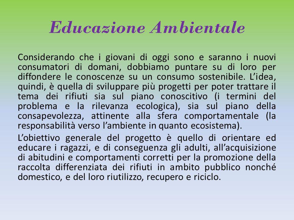 Educazione Ambientale Considerando che i giovani di oggi sono e saranno i nuovi consumatori di domani, dobbiamo puntare su di loro per diffondere le conoscenze su un consumo sostenibile.
