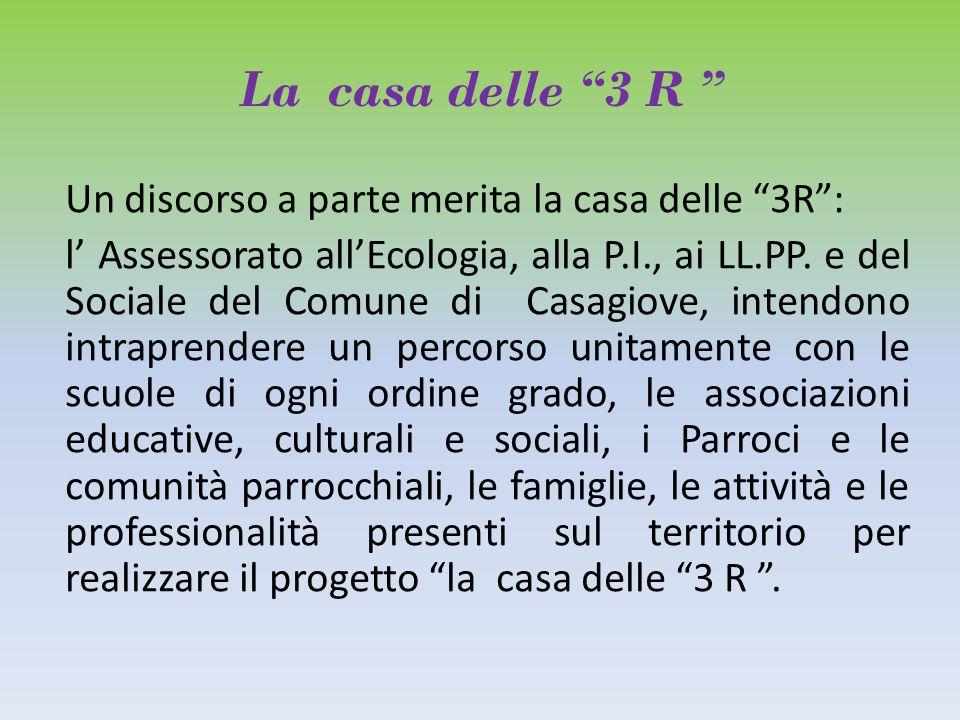 La casa delle 3 R Un discorso a parte merita la casa delle 3R : l' Assessorato all'Ecologia, alla P.I., ai LL.PP.