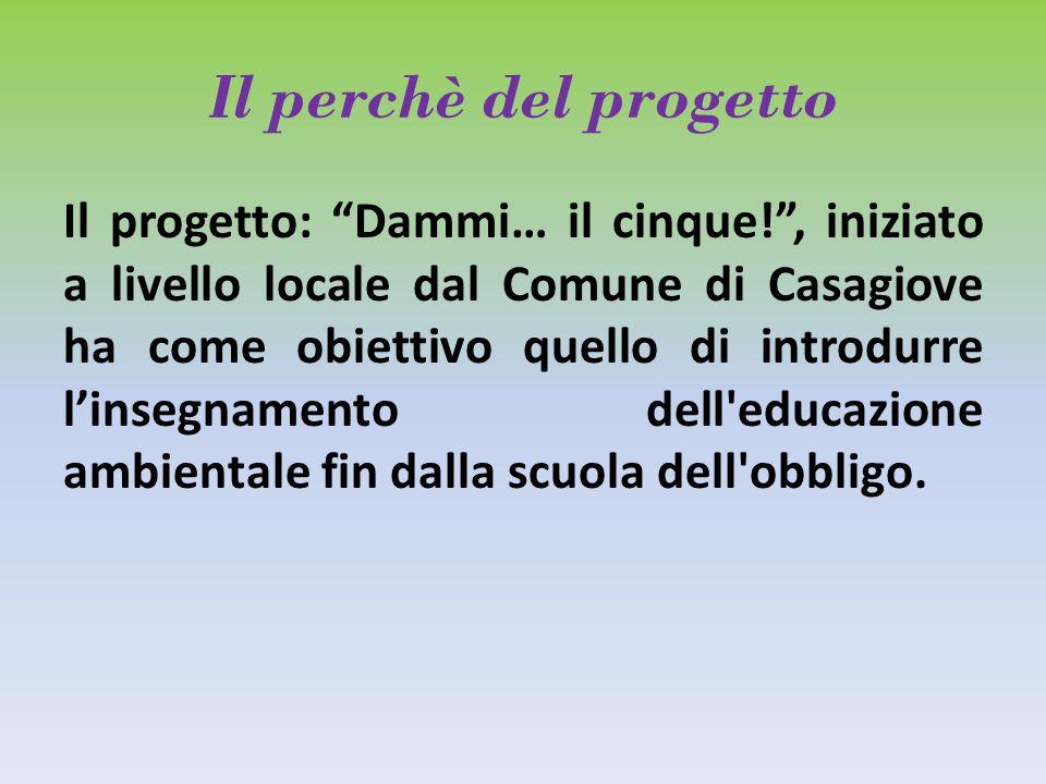 Il perchè del progetto Il progetto: Dammi… il cinque! , iniziato a livello locale dal Comune di Casagiove ha come obiettivo quello di introdurre l'insegnamento dell educazione ambientale fin dalla scuola dell obbligo.