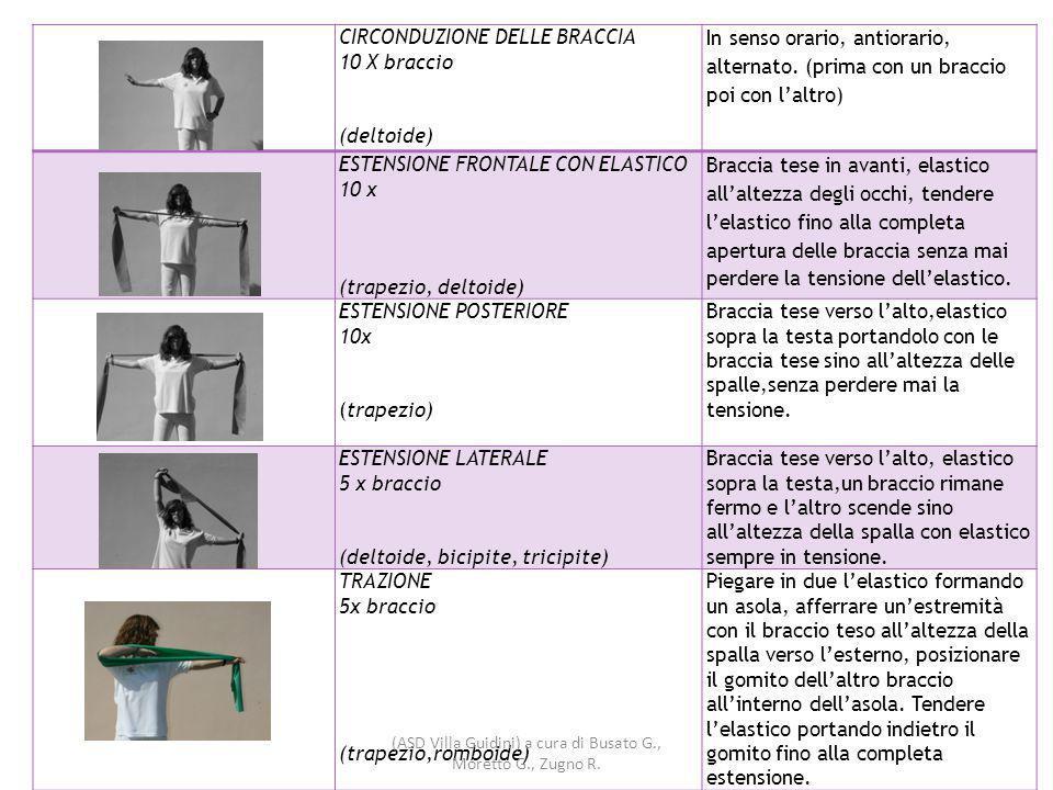 CIRCONDUZIONE DELLE BRACCIA 10 X braccio (deltoide) In senso orario, antiorario, alternato.