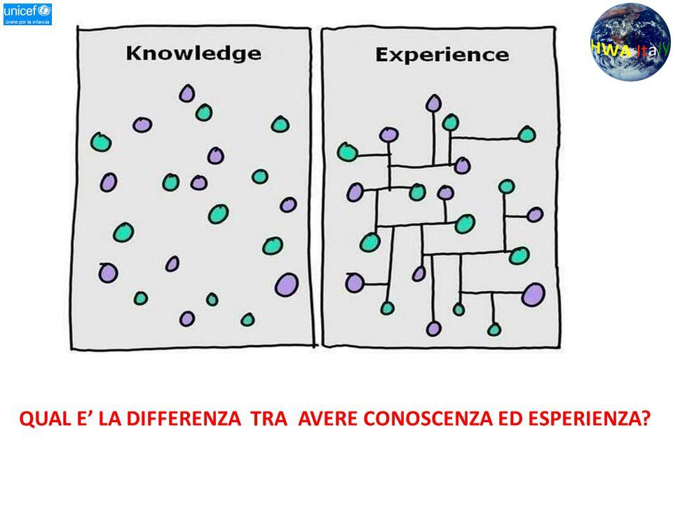 QUAL E' LA DIFFERENZA TRA AVERE CONOSCENZA ED ESPERIENZA?