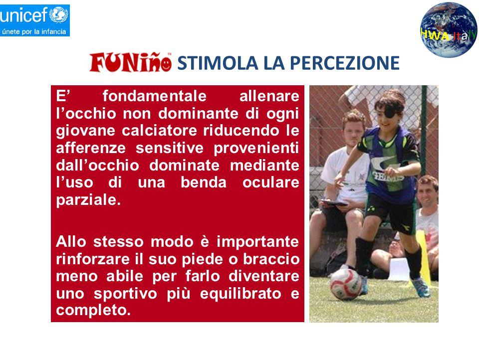STIMOLA LA PERCEZIONE E' fondamentale allenare l'occhio non dominante di ogni giovane calciatore riducendo le afferenze sensitive provenienti dall'occ