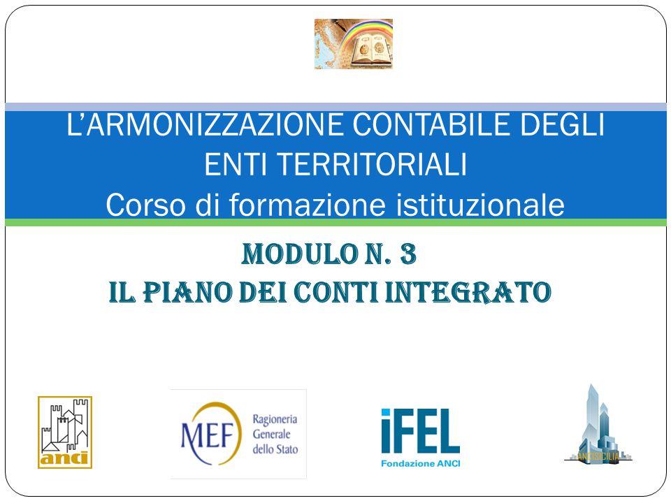 Modulo n. 3 IL PIANO DEI CONTI INTEGRATO L'ARMONIZZAZIONE CONTABILE DEGLI ENTI TERRITORIALI Corso di formazione istituzionale