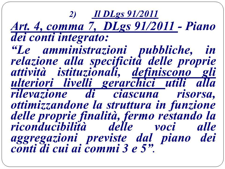 """2) Il DLgs 91/2011 Art. 4, comma 7, DLgs 91/2011 - Piano dei conti integrato: """"Le amministrazioni pubbliche, in relazione alla specificità delle propr"""