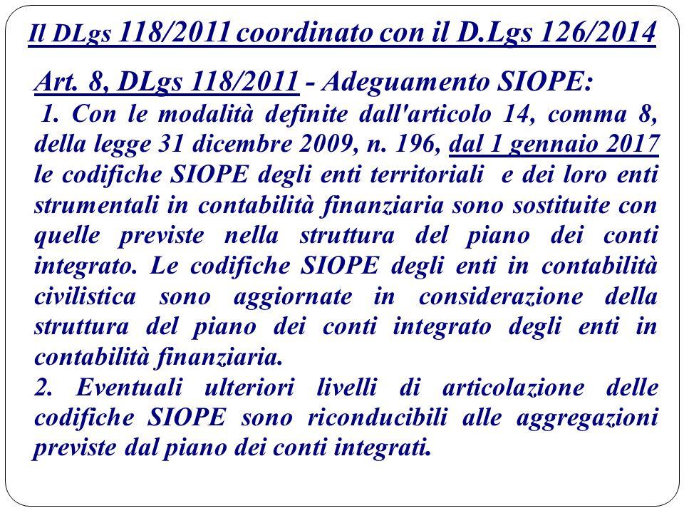 Il DLgs 118/2011 coordinato con il D.Lgs 126/2014 Art. 8, DLgs 118/2011 - Adeguamento SIOPE: 1. Con le modalità definite dall'articolo 14, comma 8, de