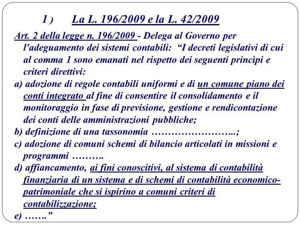 """1 ) La L. 196/2009 e la L. 42/2009 Art. 2 della legge n. 196/2009 - Delega al Governo per l'adeguamento dei sistemi contabili: """"I decreti legislativi"""