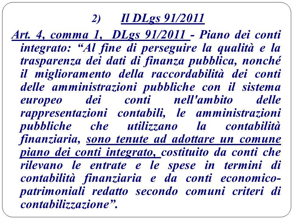 """2) Il DLgs 91/2011 Art. 4, comma 1, DLgs 91/2011 - Piano dei conti integrato: """"Al fine di perseguire la qualità e la trasparenza dei dati di finanza p"""